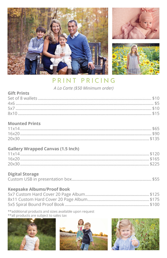 2016 Pricing - Prints, family photos, senior portraits, baby photography