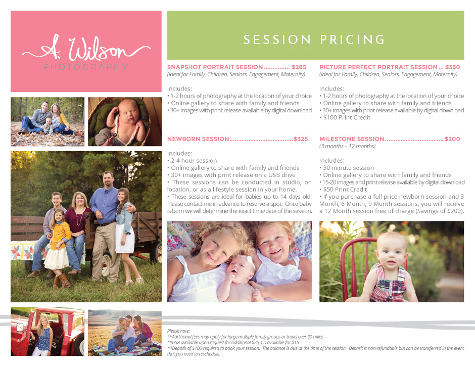 2016 Pricing - Sessions - Newborn photography, senior portraits, family photos